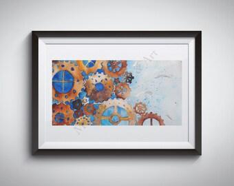 14x11 Print | Steampunk Gears Watercolor
