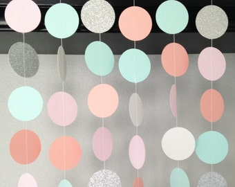 Circle Paper Garland, Bridal Shower Decoration, Light Pink.Silver Glitter.Mint.Coral Garland, Wedding Decoration, Party Garland