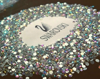 Swarovski crystals flat back stones gems rhinestones non hotfix 30 piece crystal ab clear ALL Sizes for design nails clothes shoes art*