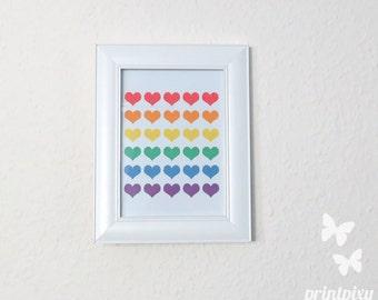Rainbow Hearts, Rainbow Print, Rainbow Poster, Hearts Print, Hearts Poster, Rainbow Wall Art