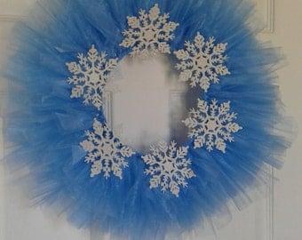 Snowflake Ice Blue Tulle Wreath