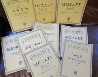 Beethoven, Bach and Mozart, Lot of 9, Schirmer Musical Classics, Sheet Music Lot, 1930s