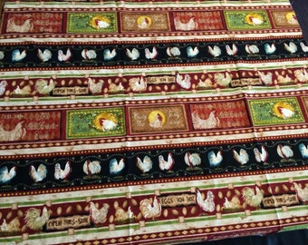 One yard high quality cotton quilting fabric rustic country kitchen chicken theme.