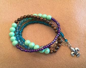 1 beaded triple wrap bracelet w/charms