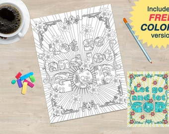 Let Go and Let God Coloring Book page from the Sobriety Garden Coloring Book with AA slogans.