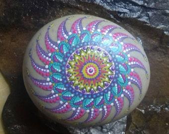 Mandala, hand-painted stone.