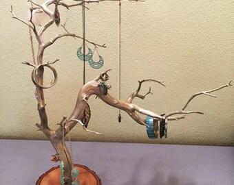 Tree branch jewelry organizer