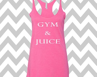 Gym & Juice Racerback Tri Blend Tank Top Summer Tank Top Gym Tank Top Workout Tank Funny Tee Womens Workout Tank