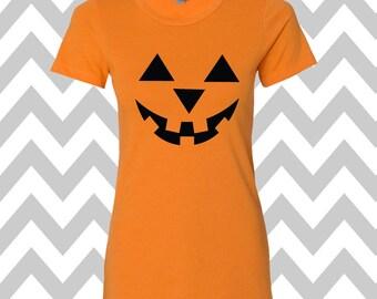 Pumpkin Face Jack-O-Lantern Halloween T-Shirt Scary Pumpkin Face Shirt  Halloween T-Shirt  Pumpkin Face Tee Halloween Party Shirt