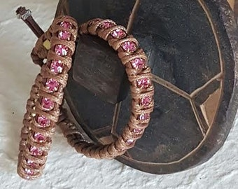 "Double small crystals bracelet Chan Luu ""Brown-Dark Pink"""