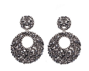 Black and silver chandelier dangle  drop earrings