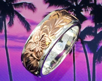 Sterling Silver & Rose Hawaiian Plumeria and Maile Ring (R534)
