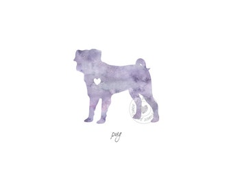 Pug Dog Watercolor Painting Digital Art Print Silhouette Custom Wall Decor, Home, Office, Nursery, Room Decor