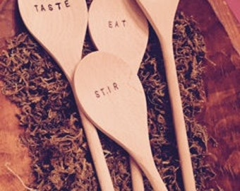 hand stamped/embossed bamboo spoon set