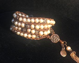 Chan Luu style Wrap Bracelet w/Burmese Pearls
