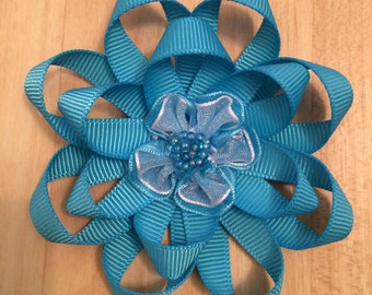 Turquoise Flower Hair Bow
