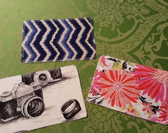 Handmade fabric postcards