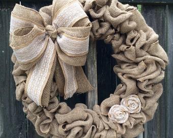Burlap wreath, wedding