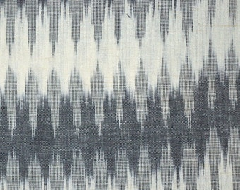Black, Gray and White Ikat Print fabric