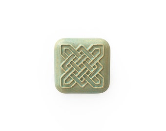 Ceramic Celtic Square Turquoise Cabochon 1 piece