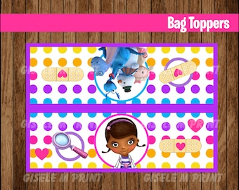 Doc McStuffins Bags, Printable Doc McStuffins Bags toppers, Doc McStuffins party treat bags instant download