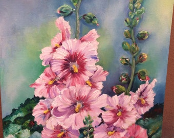Flowers, Royal Mauves flowers, mallows mad or reals, Oil and Canvas, oil, Original, impressionism
