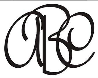 Handwritten Script Monogram Alphabet font SVG Cut Files Instant Download
