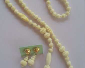 Carved Bone Necklace and  Earrings Set