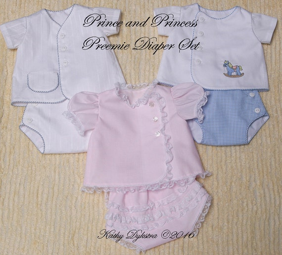 Prince and Princess Preemie Diaper Set PDF Pattern - 4/5 lb. size