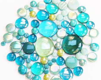 200g Round Mix of Glass Pebbles & Mosaic Tiles - Teal