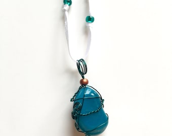 Teal Wrapped Blue Stone