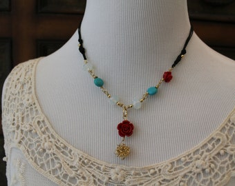 Gold Field Necklace ajusted  with natural stones and faceted crystals.