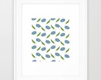 Blue Flower Stripes Illustration Print