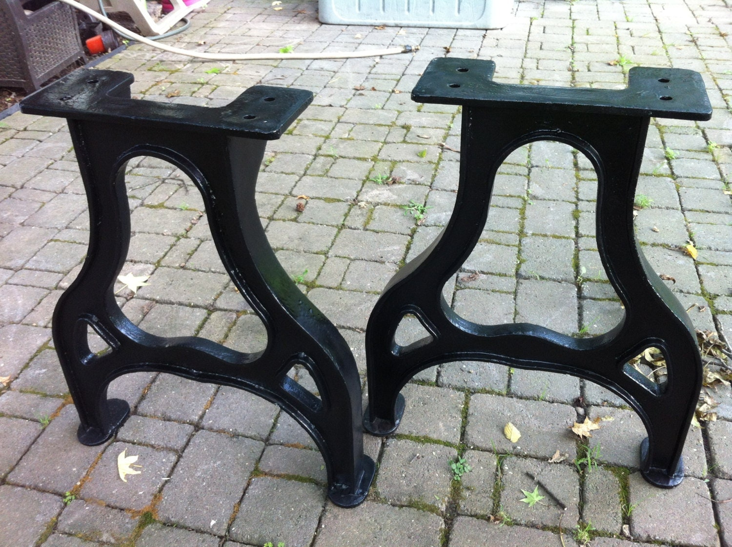 28 tall industrial cast iron table legs vintage for Old iron table legs