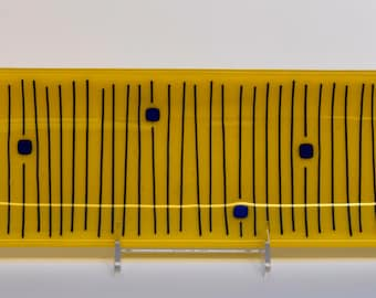 Appetizer platter--Kiln glass--Sushi--Sunflower Yellow with Blue--Hostess or Housewarming Gift--Food-Safe