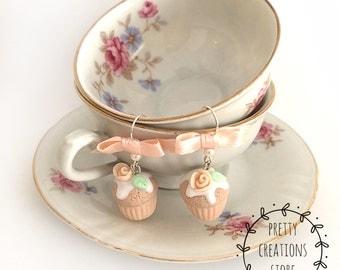 Powder Pink/beige cupcakes earrings