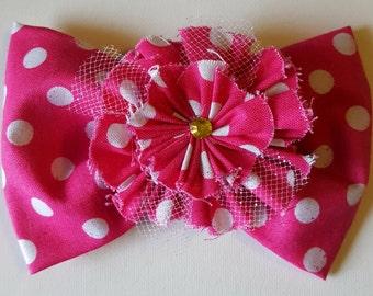 Hair bow Pink flower hair bow Valentine hair bow Pink hair bow Polka dot hair bow Flower hair bow Girls hair bow Pink hair bow