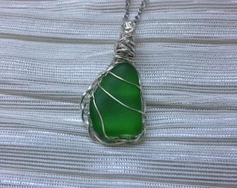 Green Sea Glass Pendant