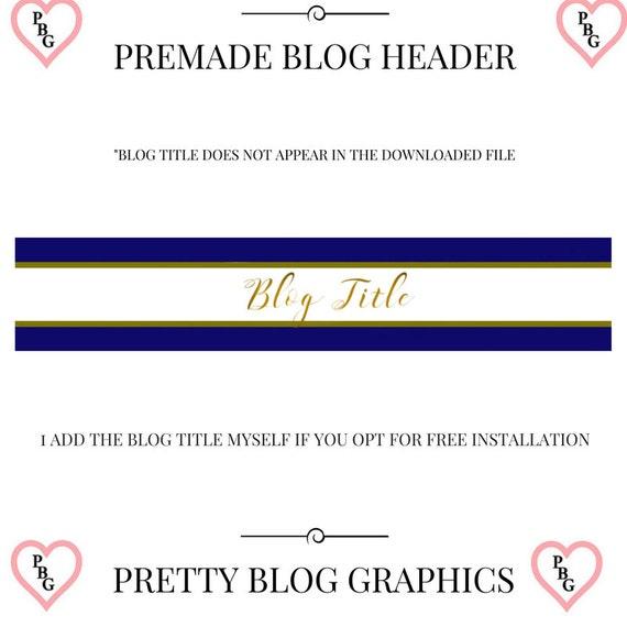Premade blog header, blog header design, gold blog header, blue blog header, blog header, vintage blog header, blog graphics, web graphics