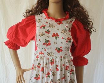 Vintage Dress S Red White