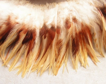 Ginger Badger rooster feathers, Natural, Cream and Brown, Schlappen, wholesale, feather supply