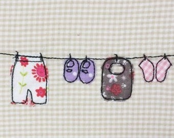 Clothesline baby Doodle embroidery file