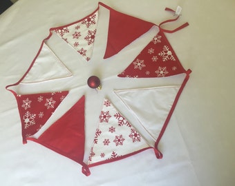 Handmade Christmas Cotton Fabric Bunting. - Red or Red & Green Cotton -lined