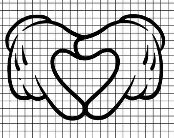 Mickey Hands in Heart SVG/DXF/download for Cricut and Silhouette