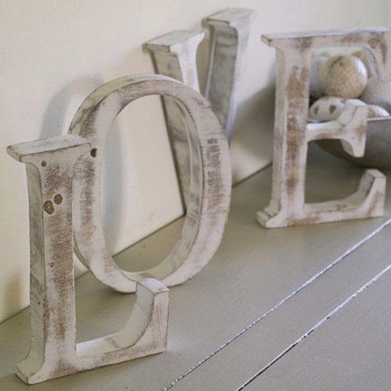 Large SHABBY CHIC Distressed Whitewashed Wood LOVE