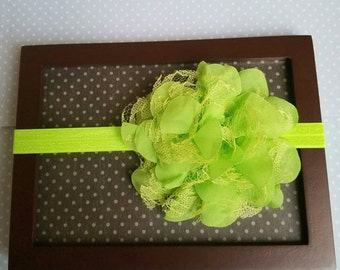 Green Newborn flower headband