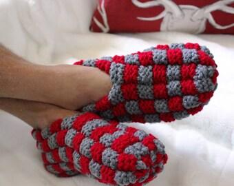 Slippers men 100% Acrylic knit / knitted slippers men / mens gift / gift for him / vegan yarn / thread vegan