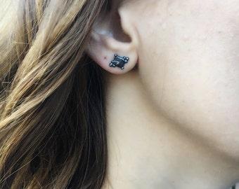 Julieta Stud Earrings, Petite Stud Earrings, Unique Stud Earrings, Dark Jewelry, Edgy Jewelry, Black Jewelry, Sterling Silver