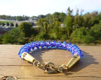Raspberry Lined Sapphire Miyuki Drop Bead Spiral Kumihimo Bracelet