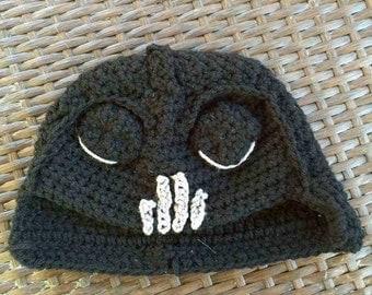 Crochet Darth Vader Inspired Earflap Hat